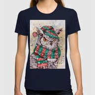 Christmas Owl Womens Fitted Tee Navy SMALL