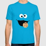 Cookie Monster - Minimal… Mens Fitted Tee Teal SMALL