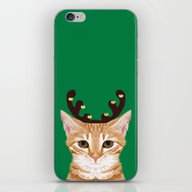 Tabby Cat Reindeer Costu… iPhone & iPod Skin