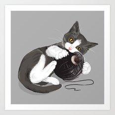 Kitten and Death Star Ball of Yarn Art Print