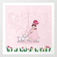 Paris Girl & Poodle Eiffle Tower Art Print