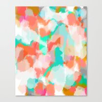Fayola - Coral, teal, pink and white abstract art Canvas Print