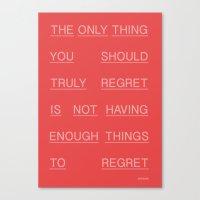 REGRETS Canvas Print