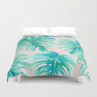 Paradise Palms Blush Duvet Cover