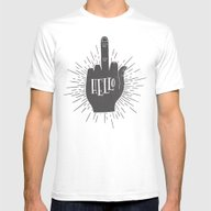 HELLO ASSHOLE Mens Fitted Tee White SMALL