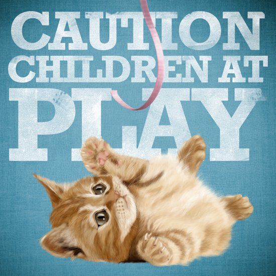 A funny baby cat playing with a pink ribbon - Caution, children at play! Canvas Print