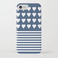 Heart Stripes Navy iPhone 7 Slim Case
