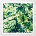 green floral on crumpled paper Art Print