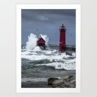 November Storm on Lake Michigan by the Grand Haven Lighthouse with Flying Gulls No.240 Fine Art Ligh Art Print