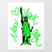 New York City Neon Green Art Print