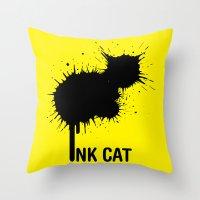 INK CAT Throw Pillow