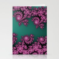 Fractal in Dark Pink and Green Stationery Cards