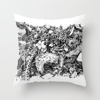 Inky Undergrowth Throw Pillow