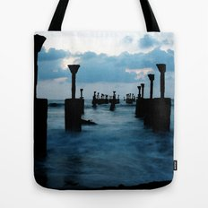 Pillars by the sea Tote Bag