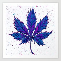 Cannabis Splatter Art Print