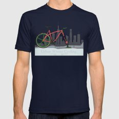 Urban Winter Cycling Mens Fitted Tee Navy SMALL