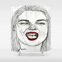 Kate with the Red Lips Shower Curtain