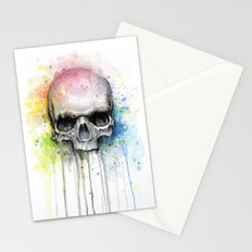 Skull Watercolor Painting Stationery Cards