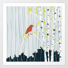 bird in birch Art Print