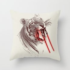 Light Saber Tooth Tiger Throw Pillow