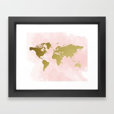 Gold World Map Poster Framed Art Print