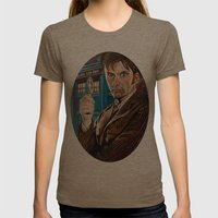 The Tenth Doctor and His TARDIS Womens Fitted Tee Tri-Coffee SMALL