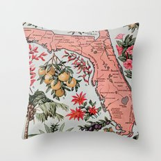 Vintage Map Of Florida (… Throw Pillow