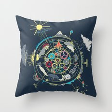 Running Like Clockworld Throw Pillow