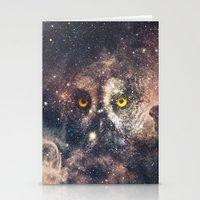 Purple Galaxy Nebula Stars Blue Space Hipster Owl Stationery Cards