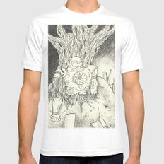 Litho Mecha White Mens Fitted Tee SMALL