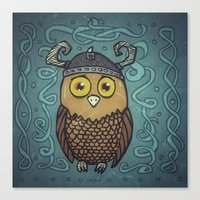 Brave Viking Owl Canvas Print