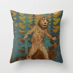 Bigfoot birthday card Throw Pillow
