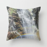 Rainbow In The Waterfall… Throw Pillow