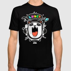 PANDA LUNCH TIME! SMALL Black Mens Fitted Tee