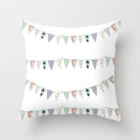 French Script Bunting Throw Pillow