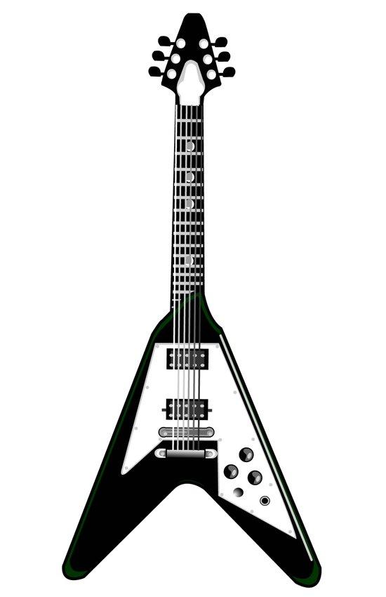 Guitar blk Art Print