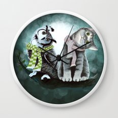 Cat and Owl Wall Clock