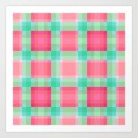 Watermelon Mint Geo Plaid Art Print