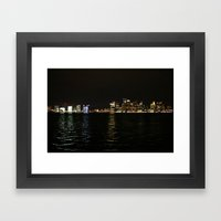 Boston Night Skyline  Framed Art Print