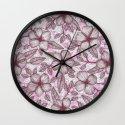 Spring Blossom in Marsala, Pink & Plum Wall Clock