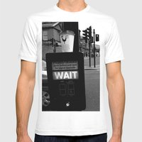 Pedestrians Wait Mens Fitted Tee White SMALL