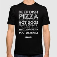 Chicago — Delicious City Prints Mens Fitted Tee Black SMALL