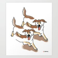 UNSTABLE HAPPY DOGS Art Print