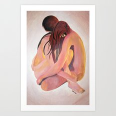 Intimate Couple Hugging and Staying In Touch Art Print