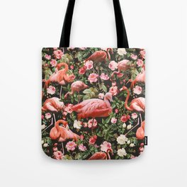 Tote Bag - Floral and Flemingo Pattern - Burcu Korkmazyurek