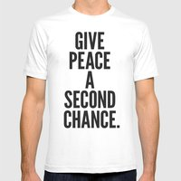 Give Peace A Second Chan… Mens Fitted Tee White SMALL
