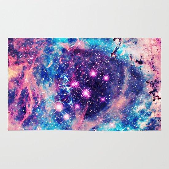 trendy pastel pink blue nebula girly stars galaxy rug by