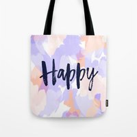 Happy - Purple + Peach Abstract Typography Tote Bag