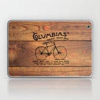 Black Brown Vintage American Bicycle on Wood Print Laptop & iPad Skin