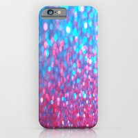 iPhone & iPod Case featuring Sky Blue Pink Sparkle Glitter Gradient by xjen94